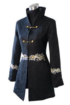 Черный китайских женщин зимние пальто хлопка длинный тонкий толстый куртка пальто ...