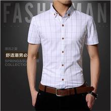 New Fashion Contrast Color Collar Men Shirt Short Sleeve Slim Fit Shirt Men High Quality Men Designer Shirts Clothes(China (Mainland))