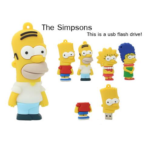 Cartoon Simpsons usb flash drive pendrive 2.0 memory storage stick u disk pen 32gb 16gb 8gb 4gb - U-DIsk Factory store