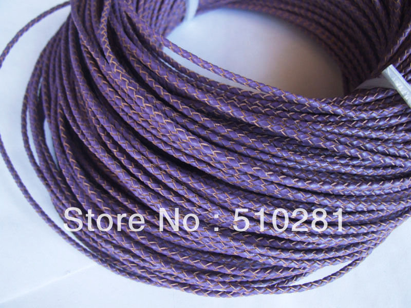 FREE SHIPPING!!!3mm 100 meter BROWN practical real round leather jewerly cord is on sale(China (Mainland))