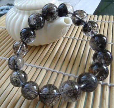 001961 natural genuine black tourmaline quartz beads stretch bracelet<br><br>Aliexpress