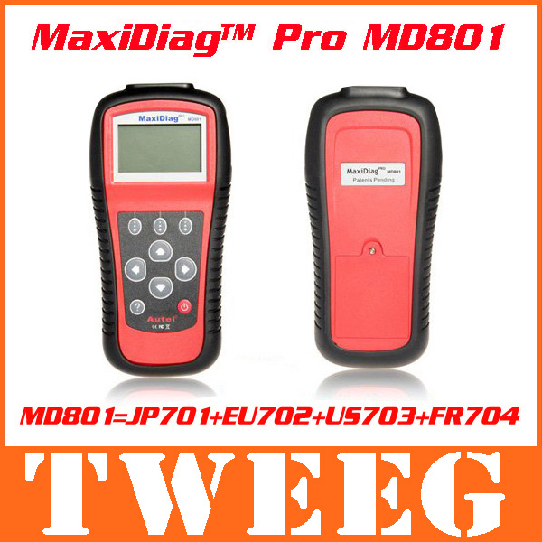 DHL MD 801 Scanner Maxiscan Autel Maxidiag Pro MD801 EU702 JP701 FR704 US703 Diagnostic Tool 4 in 1 Code Reader Free Shipping(China (Mainland))