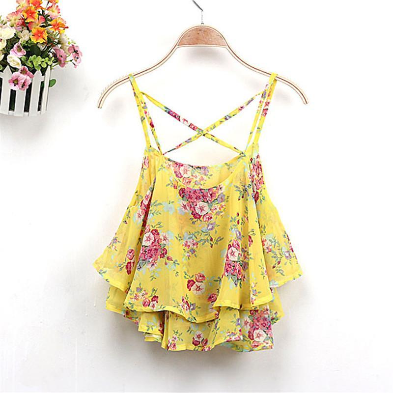 4 Colors 2016 Women Summer Clothing Spaghetti Strap Floral Print Chiffon Shirt Vest Blouses Crop Top