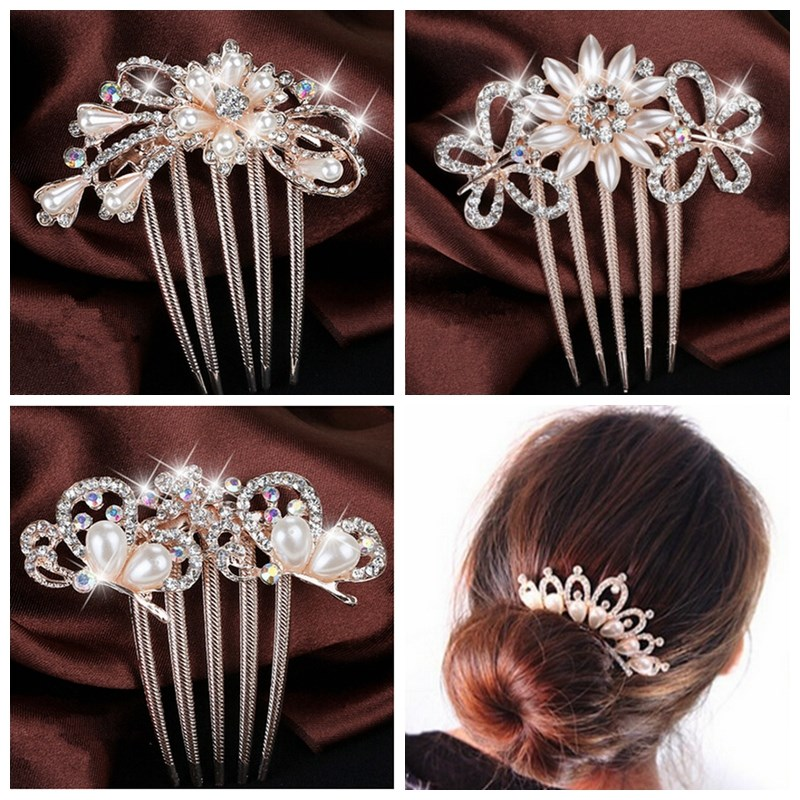 New 1PC Wedding Bridal Tiara Hair Jewelry Fashion Crystal Rhinestone Flower Faux Pearls Hairpin Clip Comb Accessorie(China (Mainland))