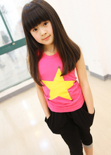 children's clothing 2016 girls summer cute Korean star button vest girls tops and tees A018 yellow hot pink 2-6 years(China (Mainland))