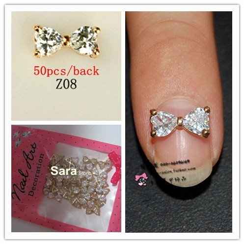 Free Shipping 8mm*10mm Zircon+Alloy Flat Back For Nail Art Tips Sticker Decoration BOW Rhinestones Wholesales 3D Gems