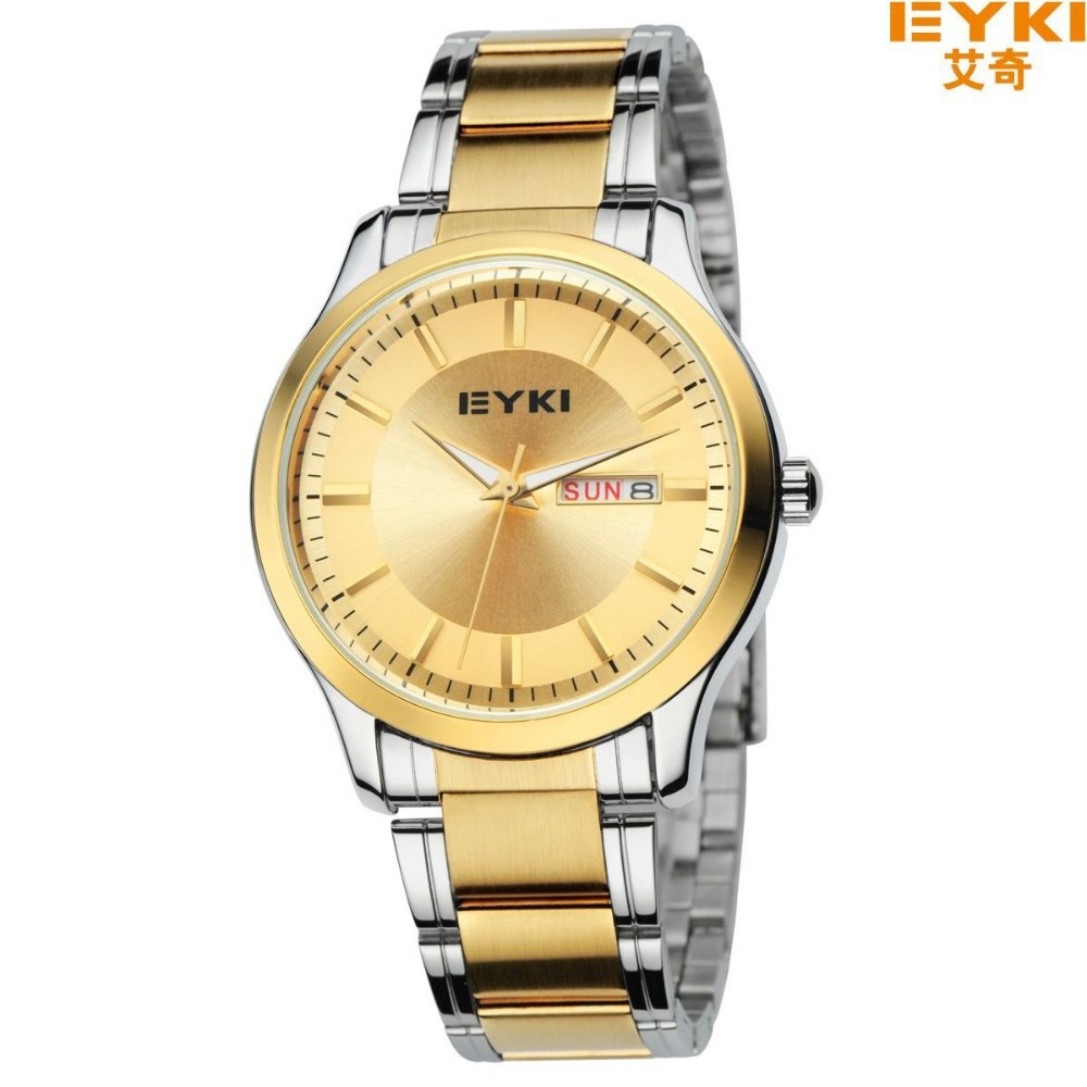 Eyki golden design men women quartz watch japan movt all stainless steel real calendar week for Celebrity quartz watch japan movt