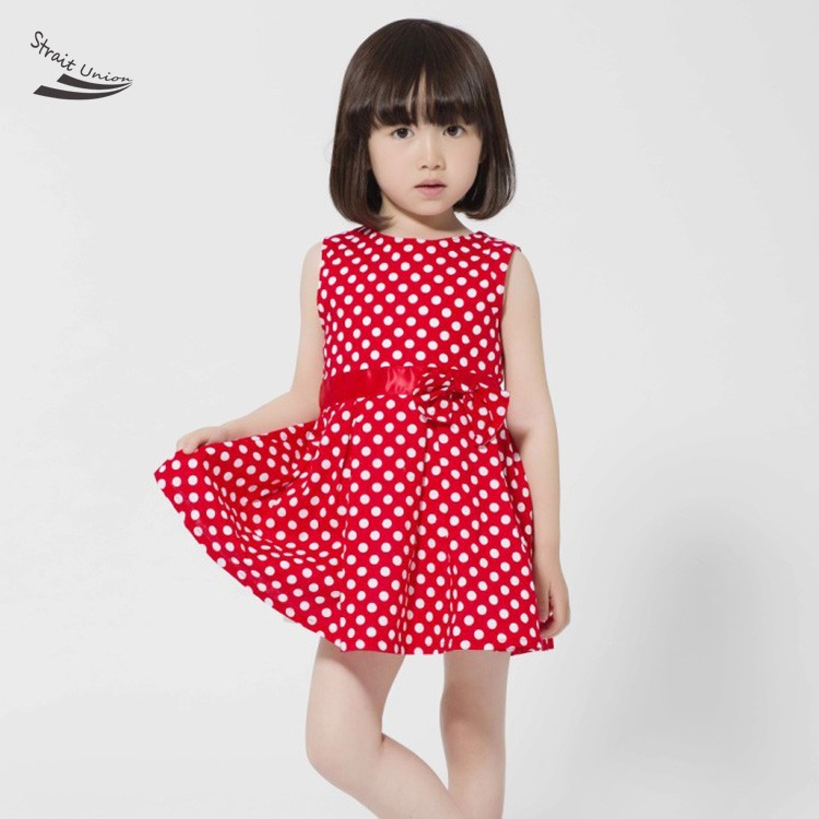Summer Style 2015 Summer Girls Dress Polka Dots Bow Princess Dress Baby Summer Clothing