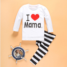 "Cute Girls Clothes Baby Girls ""I Love Mama"" Clothing Set Kids Family Clothes Set Children Clothing Ropa Mujer Vetement Fill"