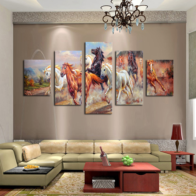 Unframed 5 panels canvas print painting modern running for Paintings for house decoration