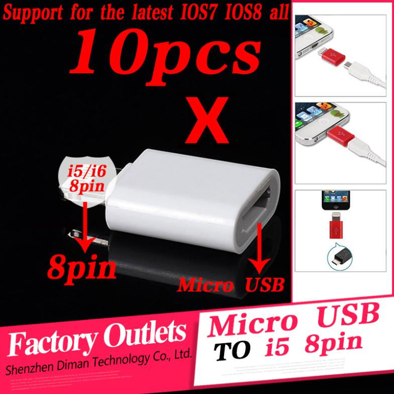 10pcs/Lot High quality phone Data Sync And Charge Connector Adapter ios7/8 Micro Usb to 8Pin Convertor For iPhone 6 5 5S 5C(China (Mainland))