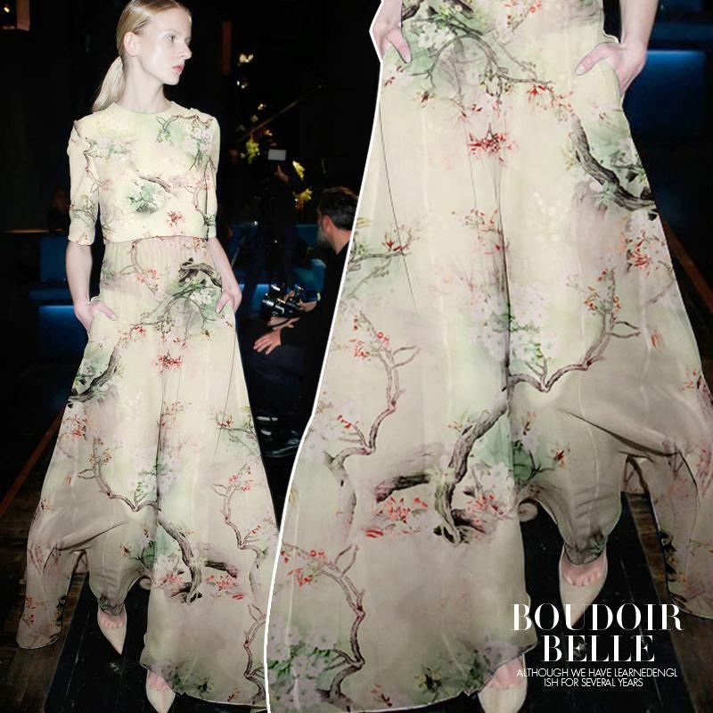Digital painting mulberry silk organza meter satin fabric dress bright cloth tissu telas fashion DIY - Personal Tailor NO 1 store