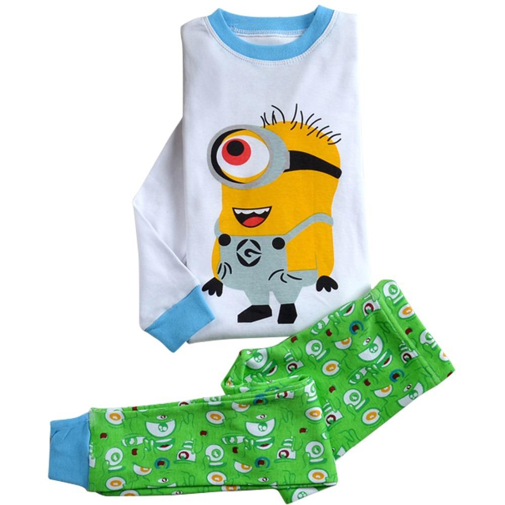 2015 top quality fashion baby boys girls minions pajams kids clothing christmas pajamas sleepwear for 2-7 years(China (Mainland))
