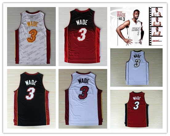 wholesale & retail top quality new fabrics printing heat #3 wade Basketball Jerseys ,black white rainbow jersey ,Free shipping(China (Mainland))