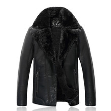 Men Faux Leather Jacket And Coats Lamb Wool Fleece Winter Snow Warm Thick Coats Brand Design Casual Motorcycle Outerwear SL-X021(China (Mainland))