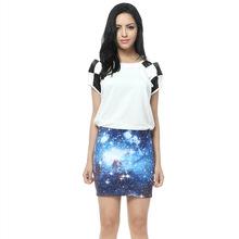 2016 Spring Summer Fashion Printed Pencil Skirt Women Elastic High Waist Ladies Digital printing Star Pattern Skirts