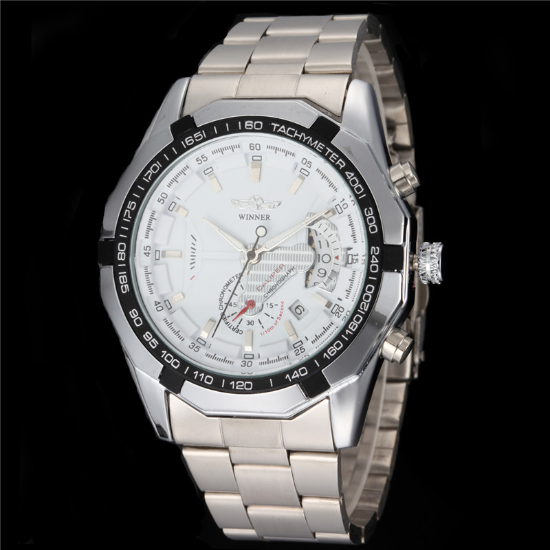 New v6 Silver Skeleton Analog Mens Mechanical Automatic Wrist Steel Band Watch 2016<br><br>Aliexpress