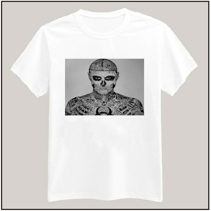New 2015 Rick Genest Zombie Print Tshirt For Men Women Cotton Casual White Shirt Top Tee S-XXXL Big Size ZY125-153(China (Mainland))