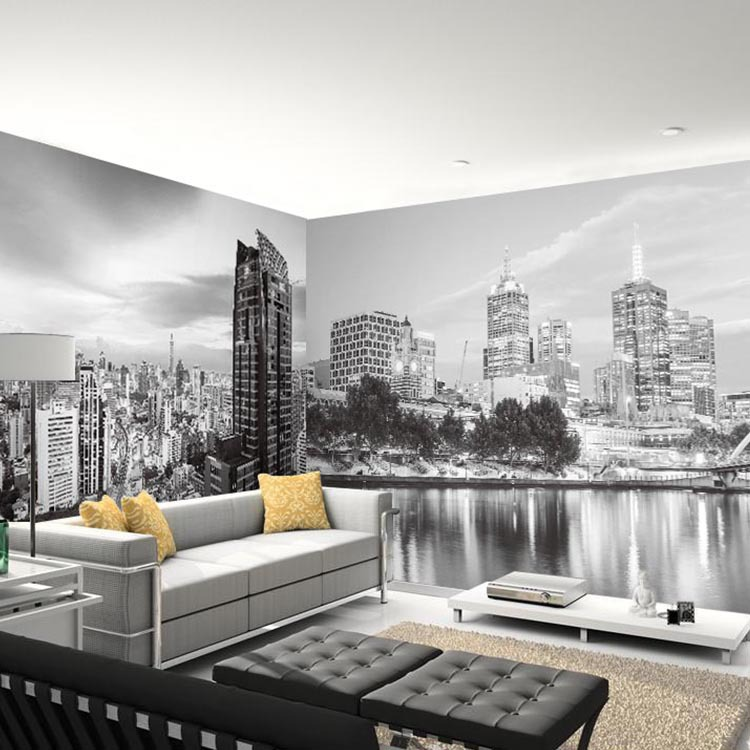 Wholesale 3d photo mural black white new york city mural for Black and white new york mural wallpaper