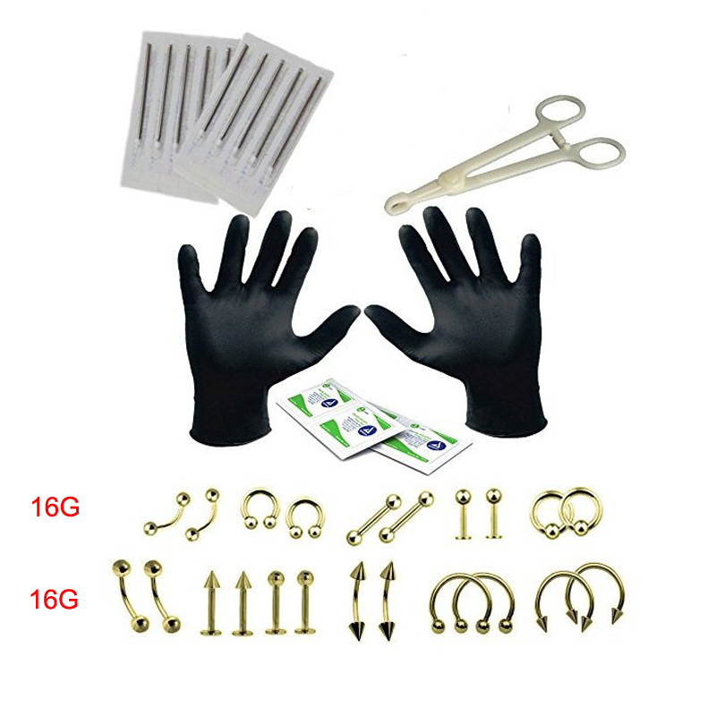 29Pcs Body Piercing Tool Set Kit Needle Forceps Tongue Eyebrow Nose Lip Ring Tongue Piercing Needles For Body Piercing Jewelry(China (Mainland))