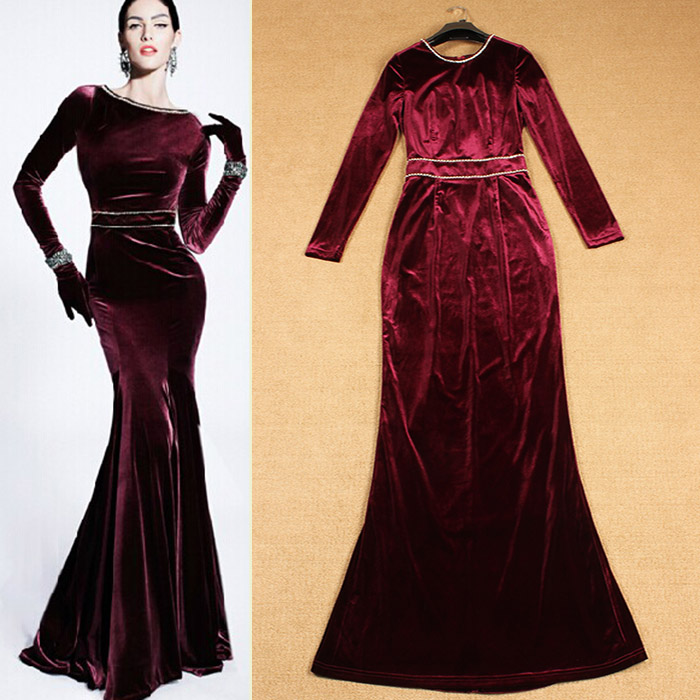 long dress velvet maxi
