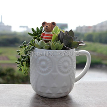 2014 New Creative Owl Pattern White Relief Ceramic Cups Good Looking Coffee Mugs Good Quality Fashion