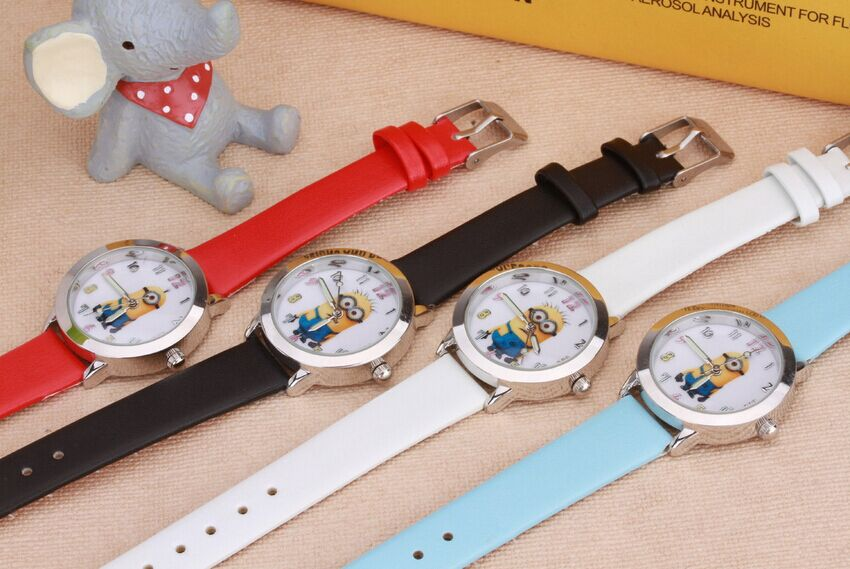 New Arrive children leather strap Cartoon watch Despicable Me Minions style quartz kids watch 1pcs