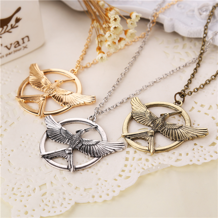 the hunger games 3 necklace logo bird new version vintage retro big pendant for men and women wholesale(China (Mainland))