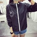 Women Basic Jacket New Fashion Hooded Smile Print Thin Outwear Windbreaker Plus Size Female Summer Spring