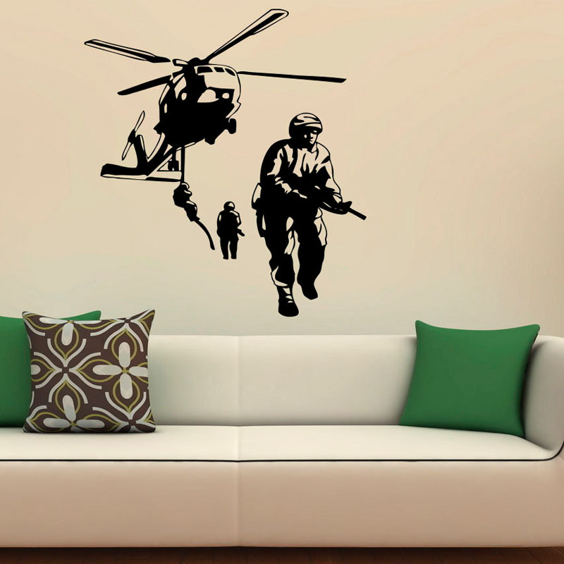 Airforce Helicopter Army Wall Stickers Military Removable Rooms Wall Vinyl Sticker Home Art Decor Decals(China (Mainland))