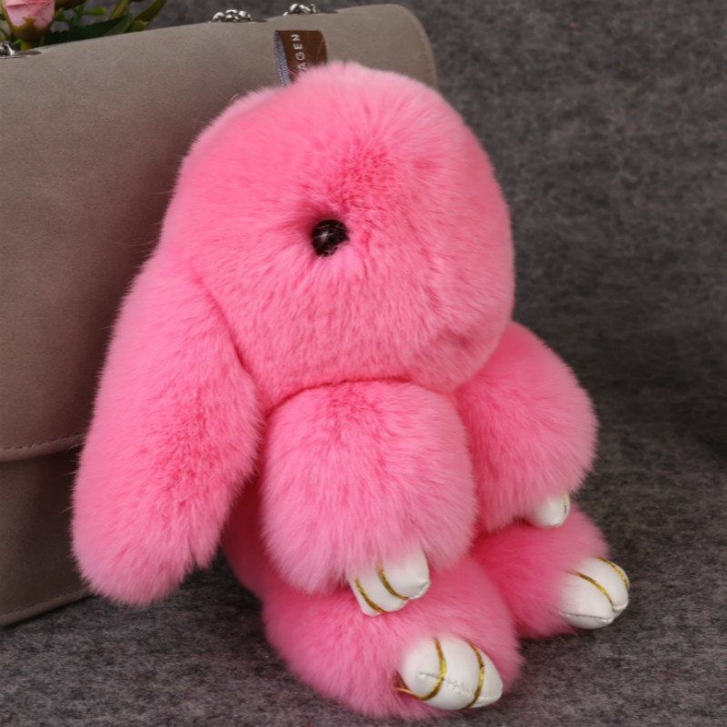 2016 Rex Rabbit Fur keychain Cute Rabbit Doll Key Chain Pendant White/Pink/Orange Wallet Pom Pom Car Pendant with gift box(China (Mainland))
