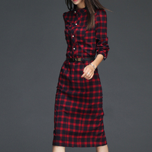 Hot New Women Autumn Red Plaid Full Sleeve Pocket Button Stand Slim Women Dress Fashion Sheath Sexy Dress High-quality Casual