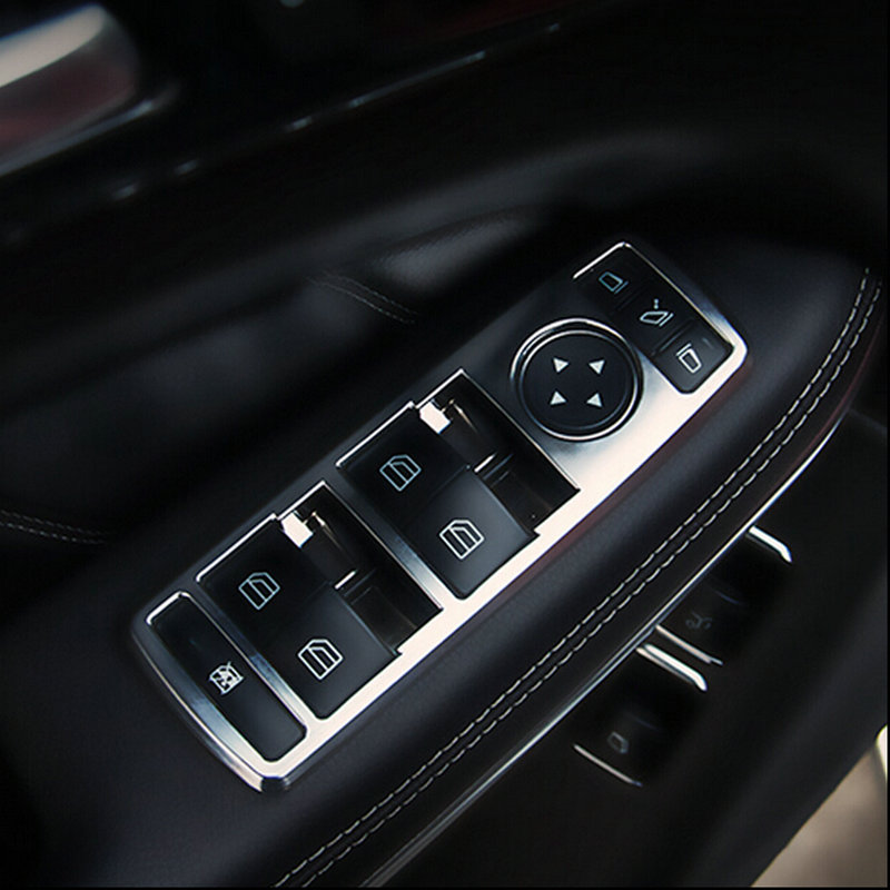 new car interior matt chrome door window switch panel cover trim for mercedes benz c glk class. Black Bedroom Furniture Sets. Home Design Ideas