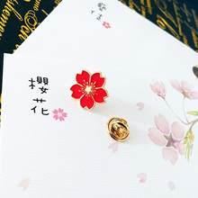 Qiaoyue 2019 Baru Manis Cherry Blossom Bros Drip Bunga Kerah Pin Lencana Pakaian Aksesoris Tas Perempuan Aksesoris(China)