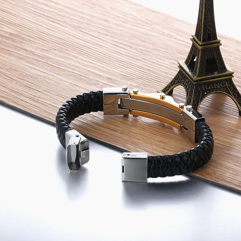 Luxury Brand New Jewelry Wholesale Golden Men Bracelet 316L Wrap Stainless Steel Charm Leather Bracelet JewelOra