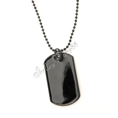 Black Stainless Steel Military Dog Tag Blank Pendant Necklace Chain Engraved