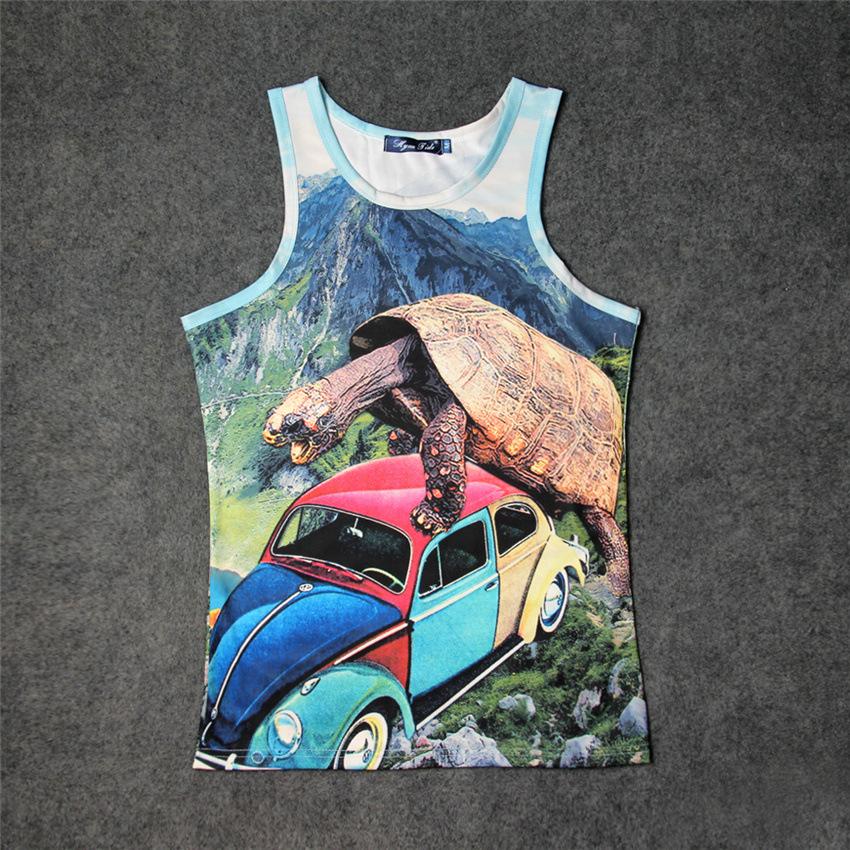 Huge Turtle After Beetle 3D Graphics Print Tank Tops Kids Men Women Undershirt Sportswear teen Cotton Tee Loose Unisex Garment()