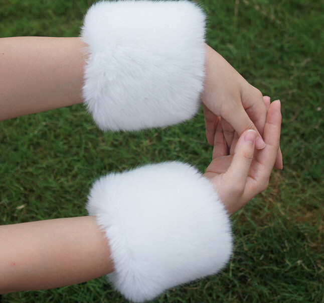 2015 Lady Winter Fancy White Real Rabbit Fur Cuff For CoatОдежда и ак�е��уары<br><br><br>Aliexpress