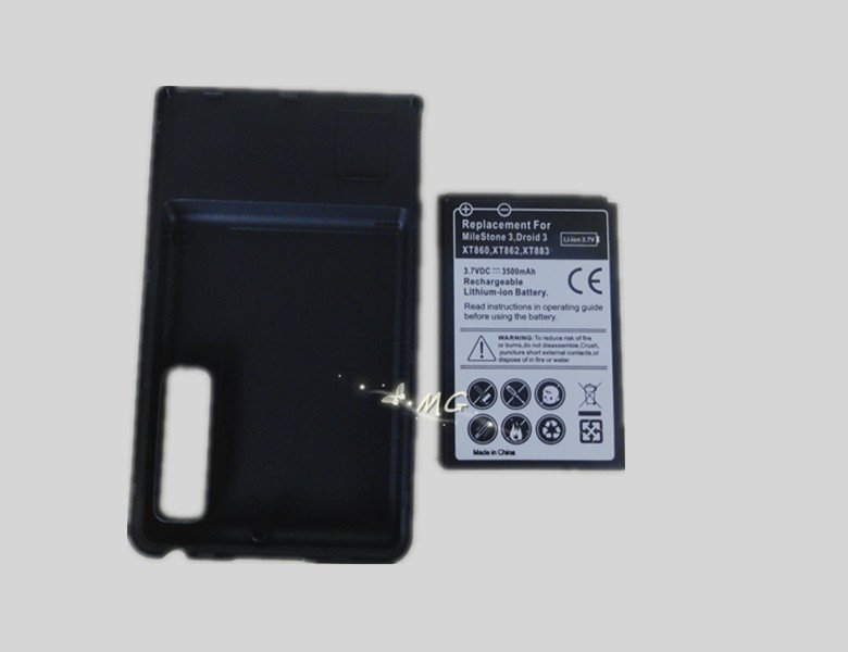 Free shipping 3500mAh Extended battery with Cover for Motorola Milestone 3 Droid 3 XT862(China (Mainland))