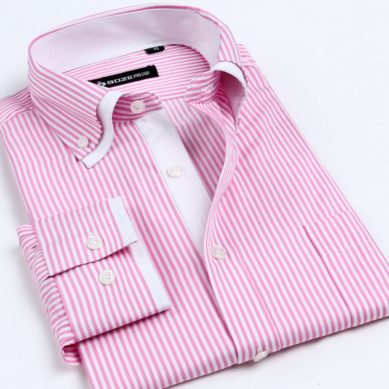 New Fashion Brand Great Stripe Men Shirts Long Sleeve Cotton Slim Fit Cuff Casual Male Social Dress Shirt Clothes(China (Mainland))