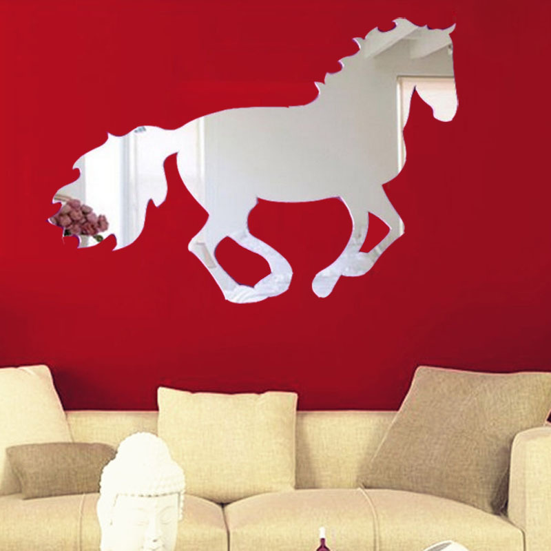 Hot!!! Galloping Horse Sticker 3D Wall Stickers Home Decoration DIY Vinilos Paredes Wall Stickers Home Decor Adesivo De Parede(China (Mainland))