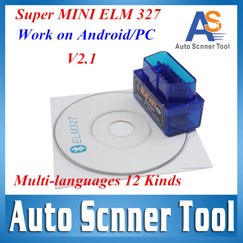 2016 Highly Recommend Super Mini ELM 327 Bluetooth Auto Error Code Scanner V2.1 Software elm327 Interface White/Blue Avaliable(China (Mainland))