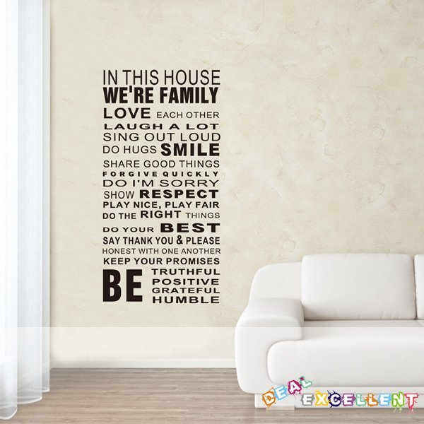 NEW ARRIVAL, HOUSE RULES 52CM*108CM/piece, vinyl quote wall decal, text wall sticker, best for home decoration