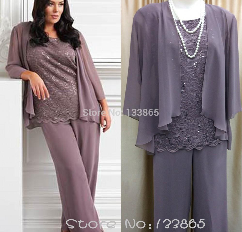 2015 m re de la mari e dentelle robes chiffron pantalons for Robes violettes plus la taille pour les mariages