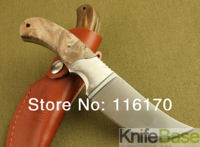 Browning African Rhinoceros hunting knives 440C 57HRC copper head white wood handle fixed blade knives for