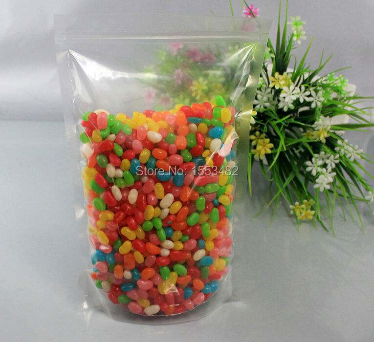 Size 20*30CM large clear plastic ziplock stand up pouch for snack packaging(China (Mainland))