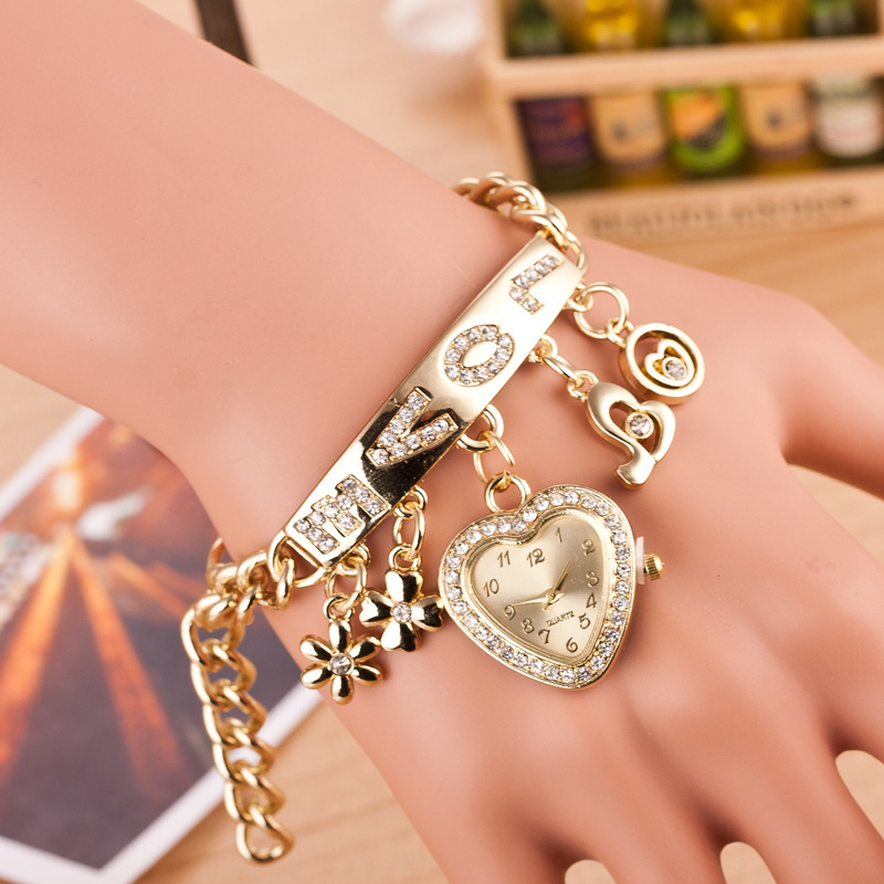 Hot Sale Fashion New Gold Hear Pendant Chain Watch Bracelet Quartz Love ID bracelet Watch Crystal Jewelry for Woman(China (Mainland))