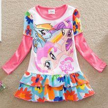 Détail nlfa bébés filles Anna Elsa vêtements 2016 été nouveau ma petite bande dessinée de poney dentelle longues manches TuTu robes enfants vêtements L668(China (Mainland))