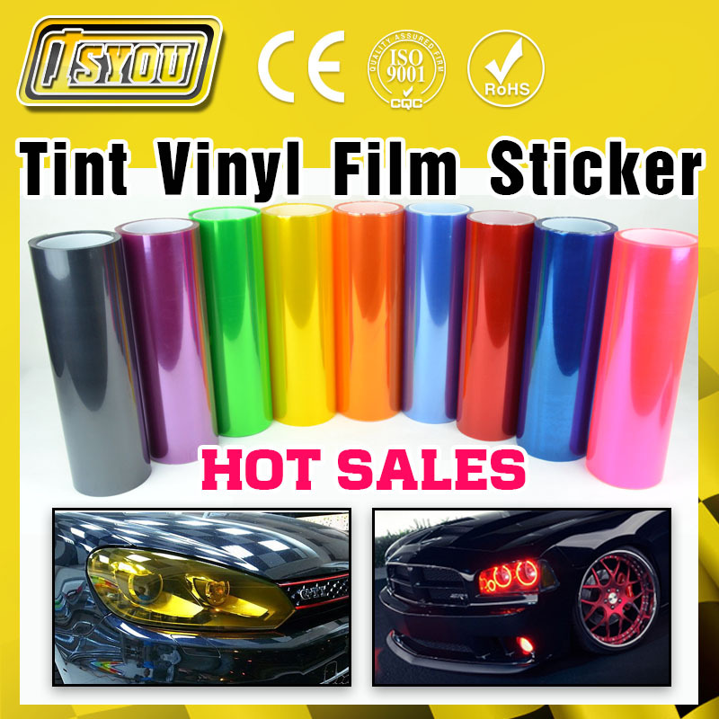Car Styling 12 Colors 30cm x100cm Auto Car Light Headlight Taillight Tint Vinyl Film Sticker Hot Sales Stick whole car(China (Mainland))