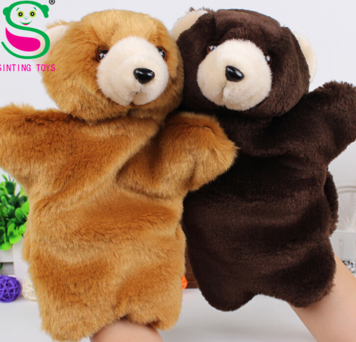 Teddy bear hand puppet doll finger even child puzzle placate Toys(China (Mainland))